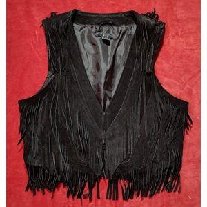Forever 21 Black Suede Fringe Vest